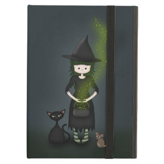 Whimsical Little Witch Girl with Cat and Mouse iPad Cases