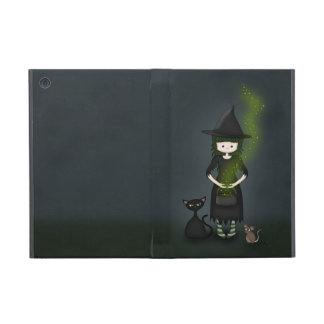 Whimsical Little Witch Girl with Cat and Mouse iPad Mini Case