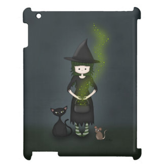 Whimsical Little Witch Girl with Cat and Mouse Cover For The iPad