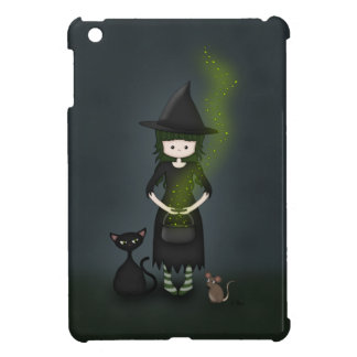 Whimsical Little Witch Girl with Cat and Mouse iPad Mini Cover