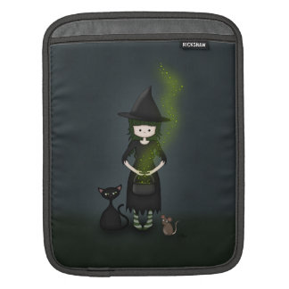 Whimsical Little Witch Girl with Cat and Mouse iPad Sleeves