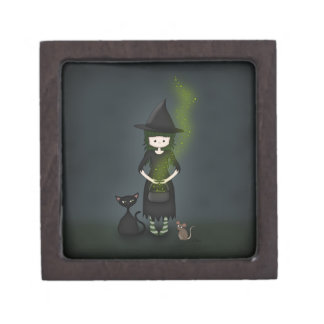 Whimsical Little Witch Girl with Cat and Mouse Jewelry Box