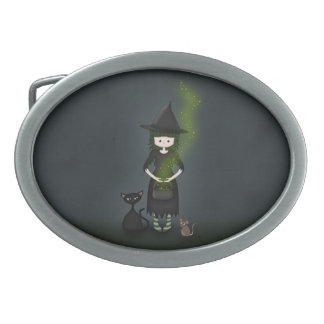 Whimsical Little Witch Girl with Cat and Mouse Oval Belt Buckle