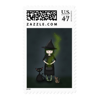 Whimsical Little Witch Girl with Cat and Mouse Postage