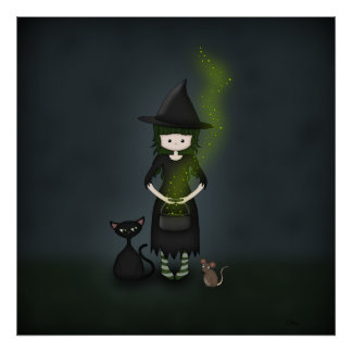 Whimsical Little Witch Girl with Cat and Mouse Poster