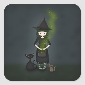 Whimsical Little Witch Girl with Cat and Mouse Square Sticker