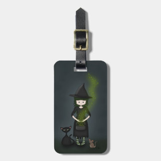 Whimsical Little Witch Girl with Cat and Mouse Tags For Luggage