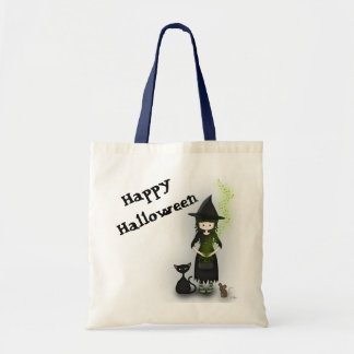 Whimsical Little Witch Girl with Cat and Mouse Tote Bag