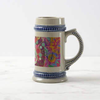 Whimsical Lollipop Candy Tree Colorful Abstract Un Beer Stein