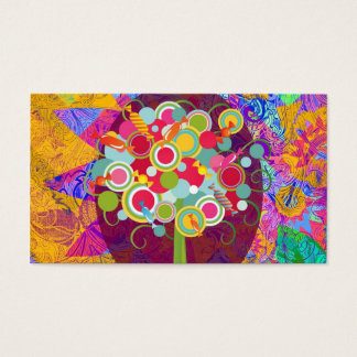 Whimsical Lollipop Candy Tree Colorful Abstract Un Business Card