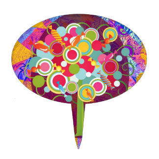 Whimsical Lollipop Candy Tree Colorful Abstract Un Cake Topper
