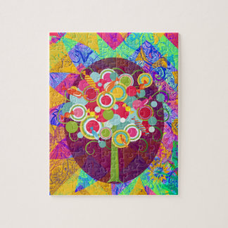 Whimsical Lollipop Candy Tree Colorful Abstract Un Jigsaw Puzzle