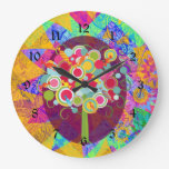 Whimsical Lollipop Candy Tree Colorful Abstract Un Large Clock