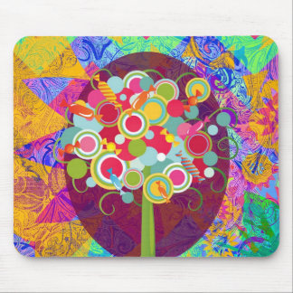 Whimsical Lollipop Candy Tree Colorful Abstract Un Mouse Pad
