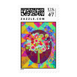 Whimsical Lollipop Candy Tree Colorful Abstract Un Postage