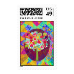 Whimsical Lollipop Candy Tree Colorful Abstract Un Stamp