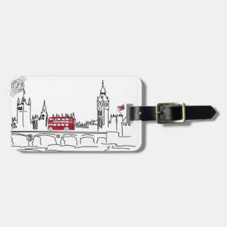 Whimsical London luggage tag