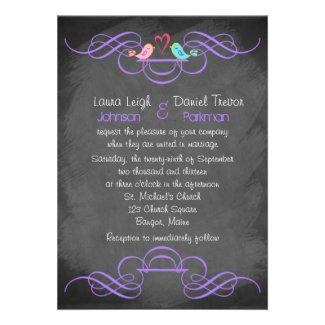 Whimsical Love Birds, Chalkboard Wedding - Purple