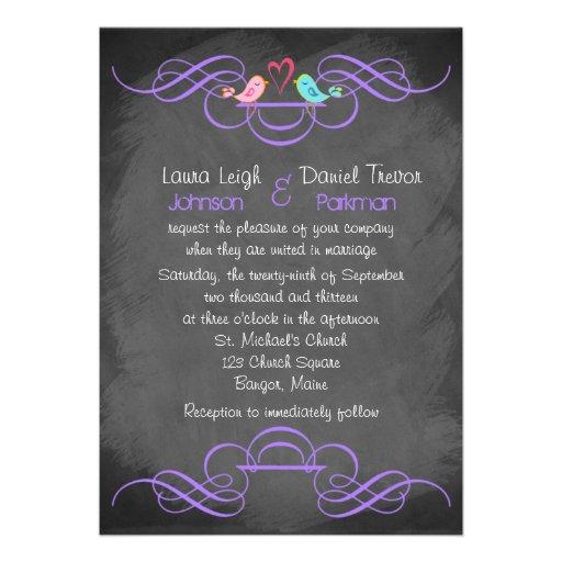 Whimsical Love Birds, Chalkboard Wedding - Purple Custom Invite