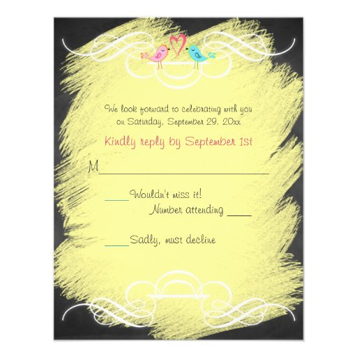 Whimsical Love Birds Chalkboard Wedding RSVP Card