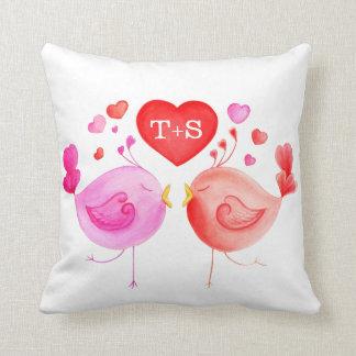 Whimsical love birds custom watercolor pillow