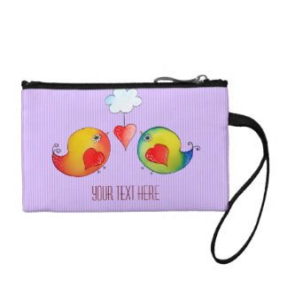 Whimsical Love Birds Customizable Key Coin Clutch