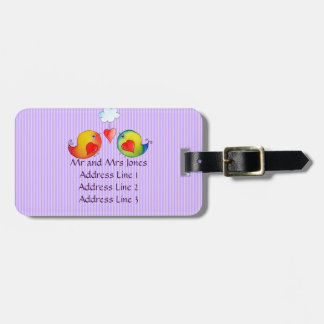 Whimsical Love Birds Customizable Luggage Tag