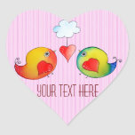 Whimsical Love Birds Customizable Stickers