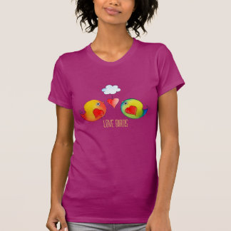 Whimsical Love Birds Customizable Tee Shirt