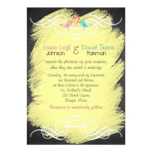 Whimsical Love Birds on Chalkboard Wedding Invite