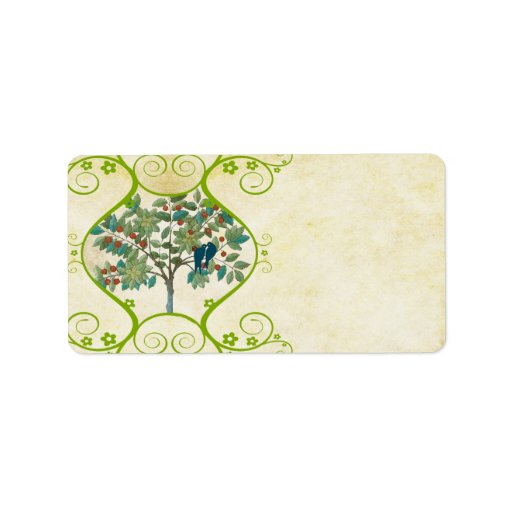 Whimsical Love Birds Sittin in a  Tree Address Address Label