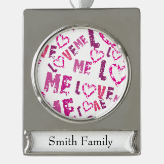 Whimsical Love Me Print Design Silver Plated Banner Ornament