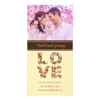 Whimsical LOVE Spring Flowers Photo Save The Date Photo Card