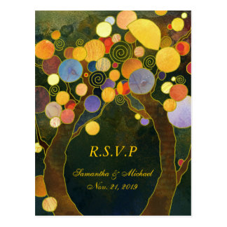 Whimsical Love Trees Wedding RSVP Cards 4 25x5 6 Post Card