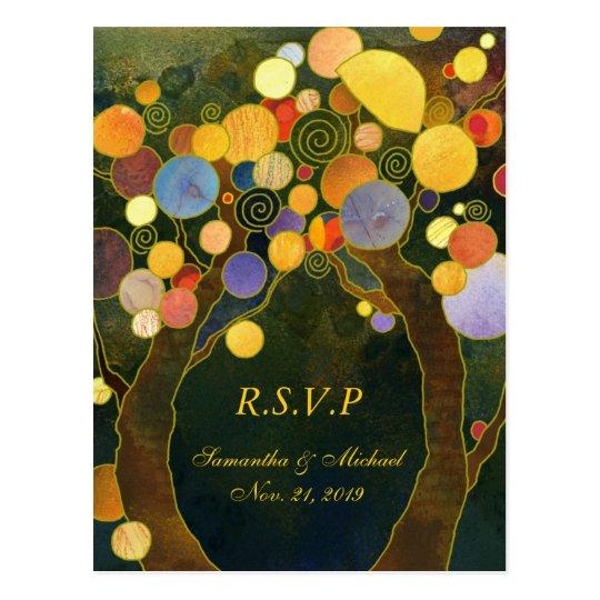 Whimsical Love Trees Wedding RSVP Postcard