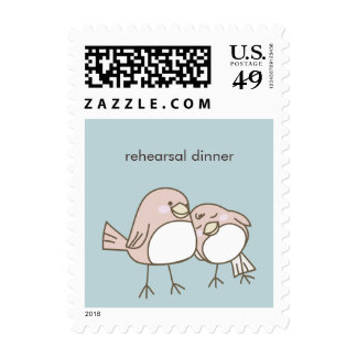 Whimsical Lovebirds Wedding Event Postage