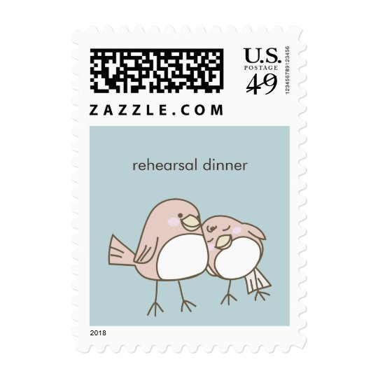 Whimsical Lovebirds Wedding Event Postage