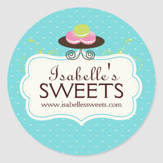 Whimsical Macaron Labels Classic Round Sticker