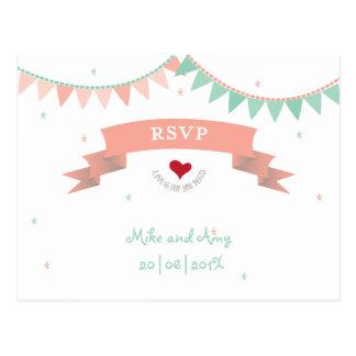 Whimsical Mad Lib Bunting Wedding RSVP Post Card