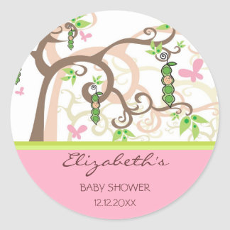 whimsical Magic Tree Girl Baby Shower Party Favor Classic Round Sticker