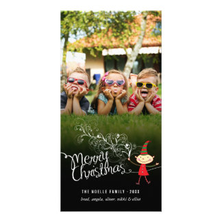 Whimsical Magical Christmas Elf Holiday Photo Card