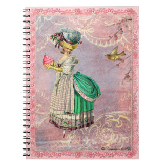 Whimsical Marie Antoinette & Cupcake Journal Spiral Note Book