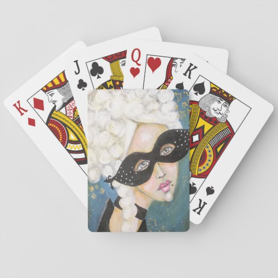 Whimsical Marie Antoinette French Queen Navy Blue Playing Cards