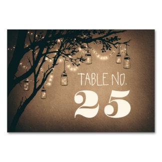 Whimsical mason jar &string lights table number card