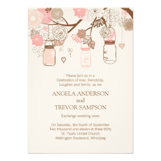 Whimsical Mason Jar Wedding Invitation