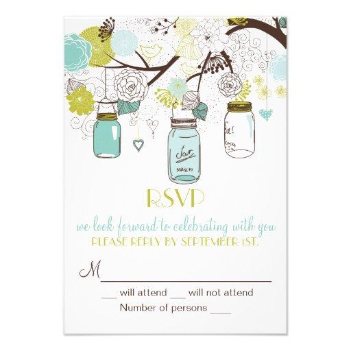 Whimsical Mason Jars RSVP Wedding Invitation