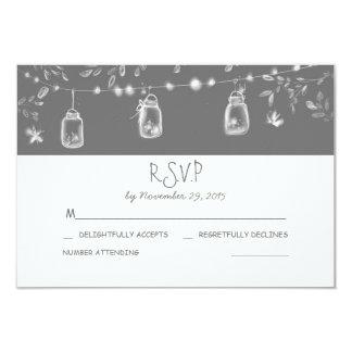 whimsical mason jars rustic wedding RSVP Card