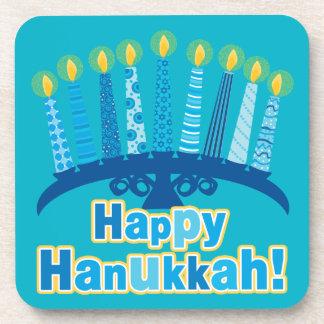 Whimsical Menorah and Candles Happy Hanukkah Coaster