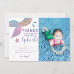 Whimsical Mermaid Birthday Party Photo Thank You Card