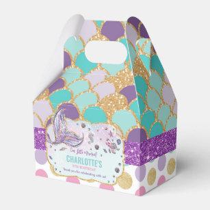 Personalized Mermaid Dark Skin Treat Box,Favor Box,Birthday Box